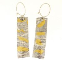 Handmade earrings, Keum boo silver and gold embossed shell pattern, large
